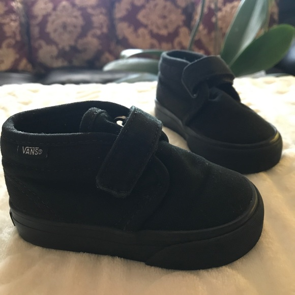 d2194832aecbaa Toddler VANS all black single Velcro shoes size 4.  M 5acd08593316275aa11a4888